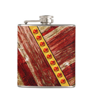 Wood and jewels hip flask