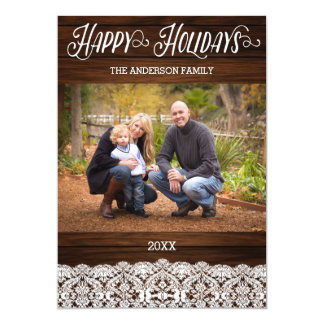 Wood and Lace Christmas Card