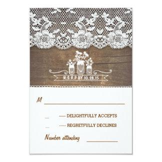 wood and lace mason jars rustic wedding RSVP cards 9 Cm X 13 Cm Invitation Card