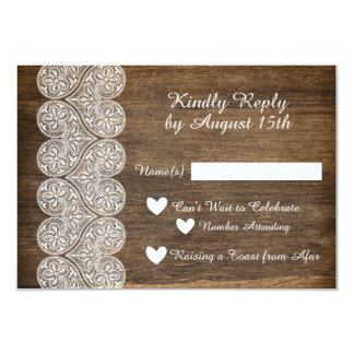 Wood and Lace RSVP for a rustic wedding Card