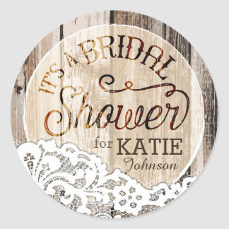 Wood and Lace Rustic Bridal Shower Label Round Sticker