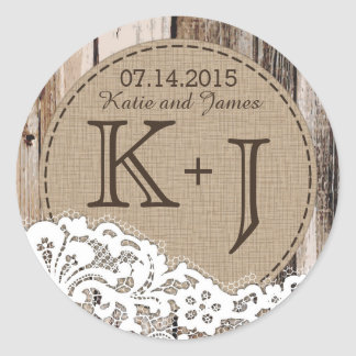 Wood and Lace Rustic Monogram Wedding Label Round Sticker