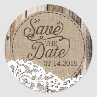 Wood and Lace Rustic Save the Date Label Round Sticker