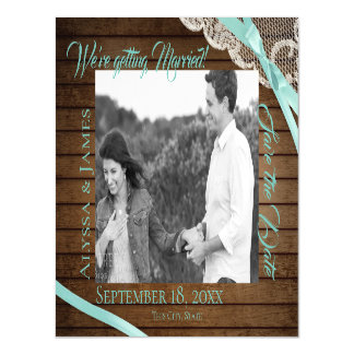 Wood and Lace Save the Date Photo Magnetic Card