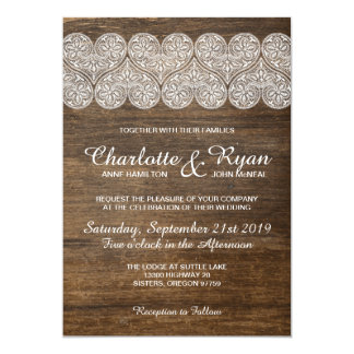 Wood and Lace wedding invitation with hearts
