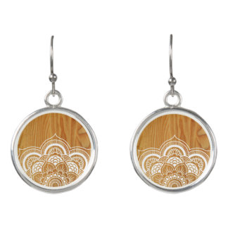 Wood and Mandala Earrings
