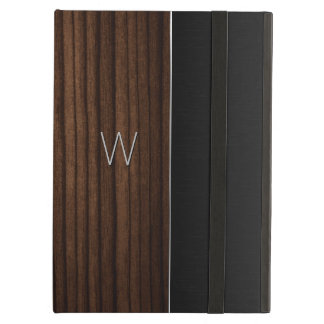 Wood and Metallic Look Monogrammed iPad Air Case