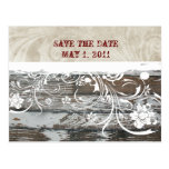 Wood and Parchment Save the Date Post Cards
