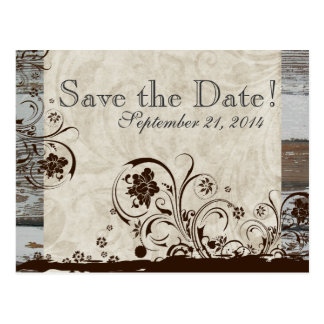 Wood and Parchment Swirl save the date Postcard