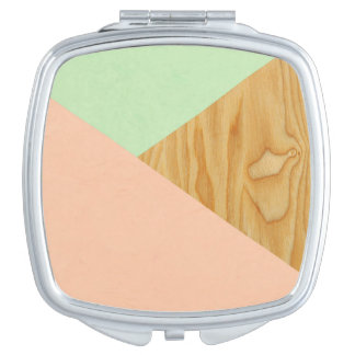 Wood and Pastel Abstract Mirrors For Makeup