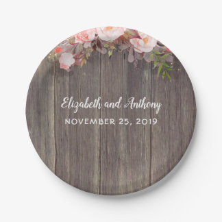 Wood and Pink Flowers Rustic Wedding Paper Plate