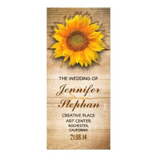 Wood and sunflower blossom wedding programs rack card