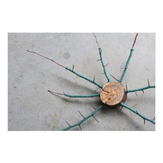 Wood & Aqua Jute String Nature Sculpture Oblique Photo Print