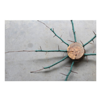 Wood & Aqua Jute String Nature Sculpture Right Photo Print