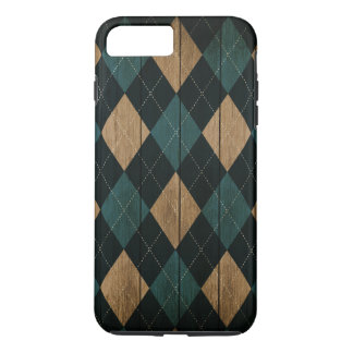 Wood Argyle Pattern DOcean Blue (Diamond Pattern) iPhone 8 Plus/7 Plus Case