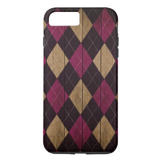 Wood Argyle Pattern Plum Purple (Diamond Pattern) iPhone 8 Plus/7 Plus Case