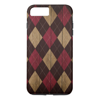 Wood Argyle Pattern Red Heart (Diamond Pattern) iPhone 8 Plus/7 Plus Case