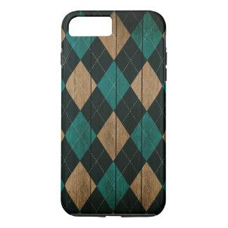 Wood Argyle Pattern Turquoise (Diamond Pattern) iPhone 8 Plus/7 Plus Case