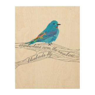 Wood Art Bluebirds Fly Design Wood Print