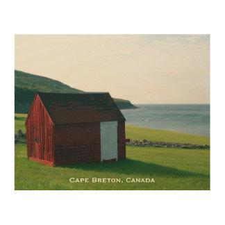 Wood Art Print 2 | Red Shack on Cape Breton Island Wood Canvas