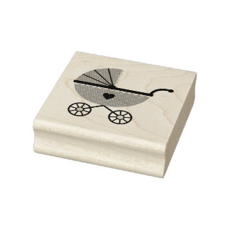 Wood Art Stamps/Baby Carriage Rubber Stamp