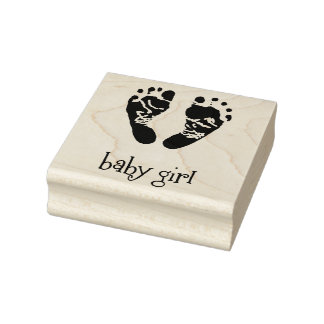 Wood Art Stamps/Baby Girl with feet Rubber Stamp