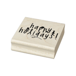Wood Art Stamps/Happy Holidays Rubber Stamp