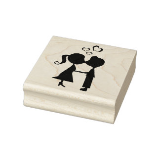 Wood Art Stamps/Kissing Boy and Girl with Hearts Rubber Stamp