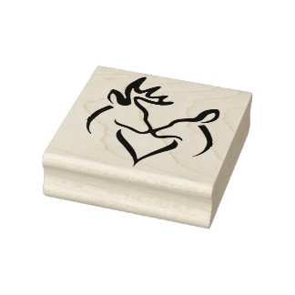 Wood Art Stamps/Kissing Buck and Doe Rubber Stamp