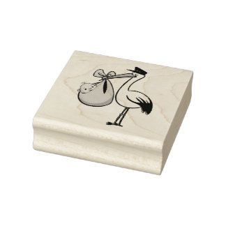 Wood Art Stamps/Stork with Baby Rubber Stamp