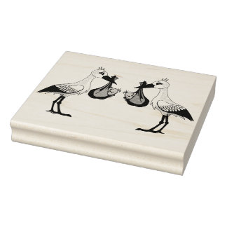 Wood Art Stamps/Stork with Twins Rubber Stamp