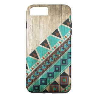 Wood Aztec Pattern Turquoise iPhone 8 Plus/7 Plus Case