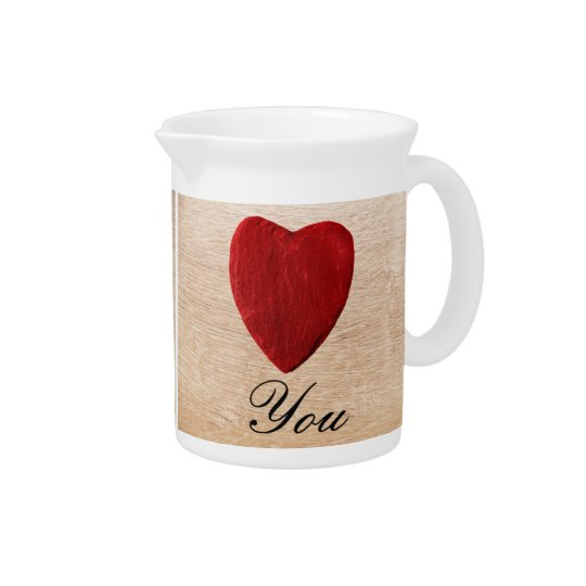 Wood background Love you Beverage Pitcher