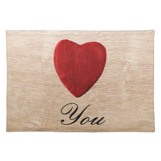 Wood background Love you Placemat