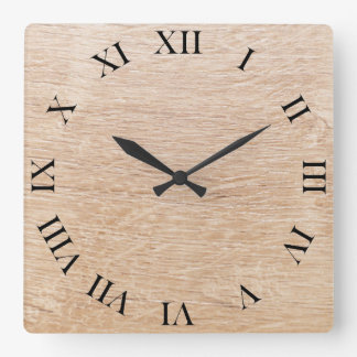 Wood background square wall clock