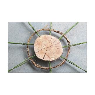 Wood Bamboo & Vine Eco-Art Sculpture Closeup Photo Canvas Print