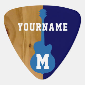 wood / blue cool personalized plectrum
