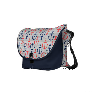 Wood & Blue & Coral Nautical Boat Anchors Pattern Messenger Bags