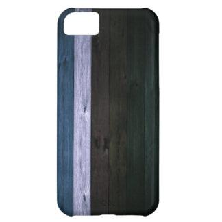 Wood Blue/White Stripe 5c iPhone 5C Case