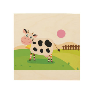 Wood board with Cow Wood Wall Decor