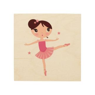 Wood board with little ballerina wood wall decor