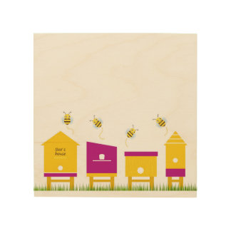Wood board with Little cute bees Wood Wall Art
