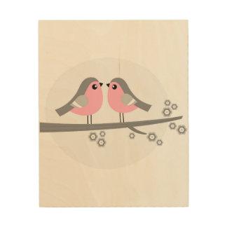 WOOD BOARD WITH LOVE CUTE BIRDS WOOD WALL DECOR
