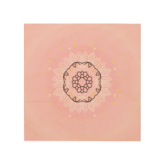 Wood board with Mandala art : pink