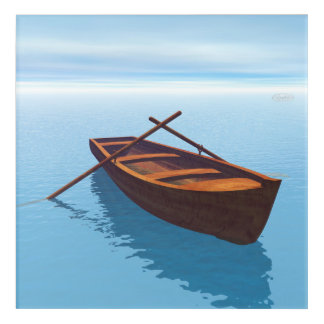Wood boat - 3D render Acrylic Wall Art
