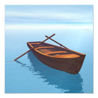 Wood boat - 3D render Card