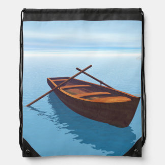 Wood boat - 3D render Drawstring Bag