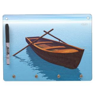 Wood boat - 3D render Dry Erase Board With Key Ring Holder