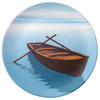 Wood boat - 3D render Plate