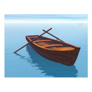 Wood boat - 3D render Postcard